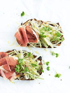 open sandwiches in the spring 2012 issue of donna hay magazine. Delicious prosciutto and waldorf salad.  http://www.donnahay.com.au/recipes/breakfastandbrunch/sandwiches-burgers/prosciutto-and-celeriac-waldorf-salad-sandwiches