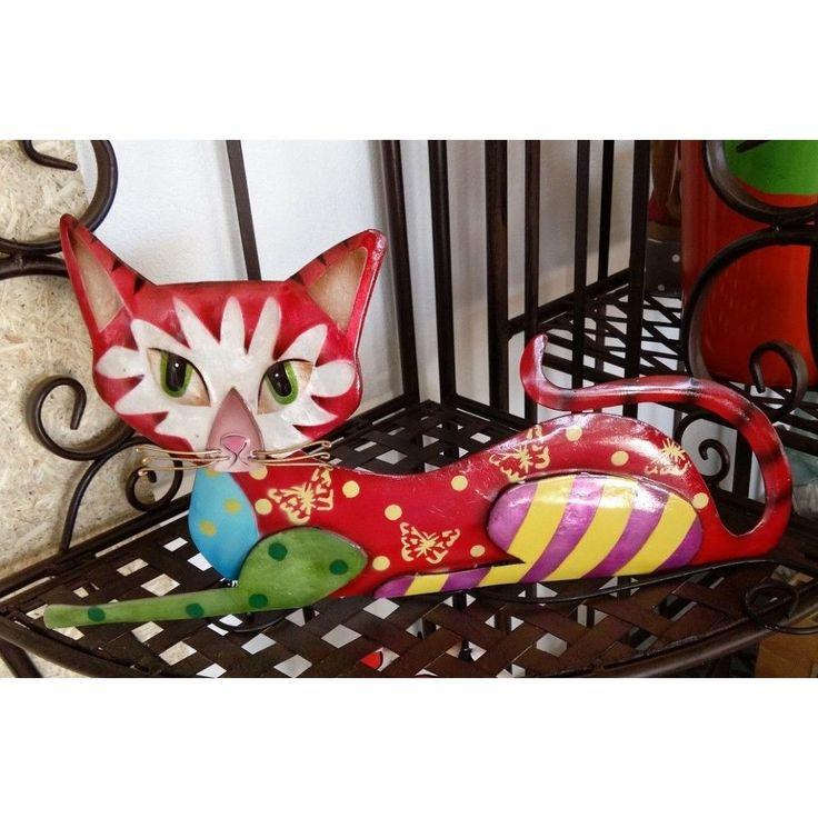 Katze aus Metall bunt lackiert FL708-l liegend in Möbel & Wohnen, Dekoration, Dekofiguren | eBay