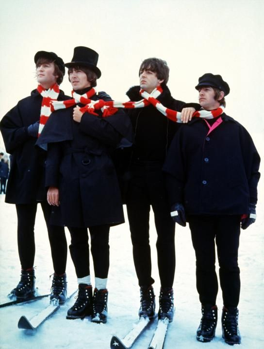 """Posing on the ski slopes during shooting for the film """"Help!"""" - The Beatles"""