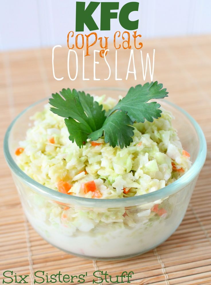 KFC Copy Cat Coleslaw from Sixsistersstuff.com