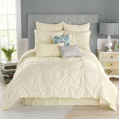 The Anthology Whisper Comforter Set updates your bedroom decor with a luxurious touch of style. Featuring elegant ruching and pintucked detailing, this set features clean, tailored pieces that create the perfect lofty look.