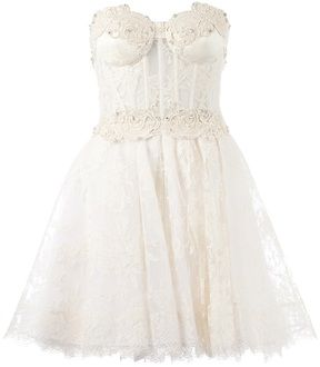 Zuhair Murad strapless floral lace dress on shopstyle.com