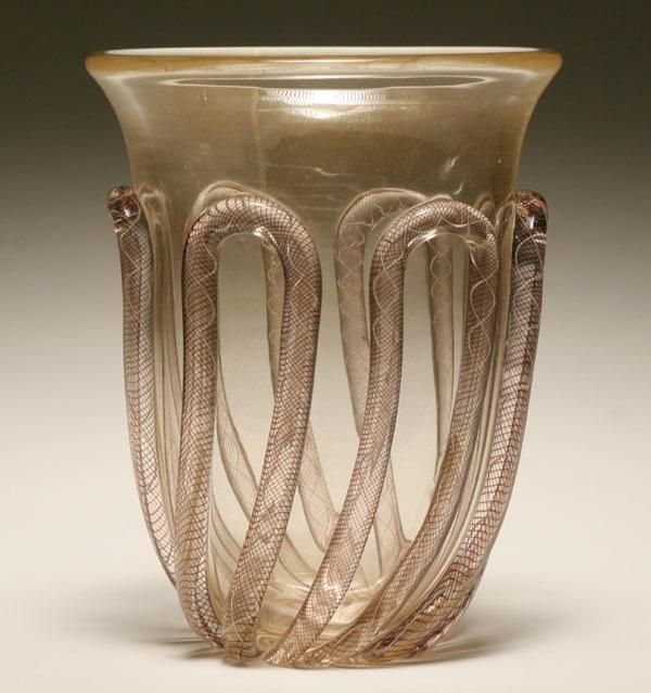 Archimede Seguso applied glass vase, c.1951.
