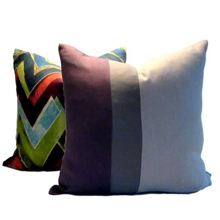 Instantly update your decor with our contemporary linen Plum Gray Natural Colour Block Pillow Cover