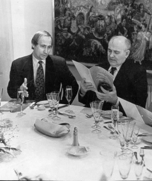 Putin's Family Album: Putin and Gorbachev: yes, yes one day all this will be yours, but first let's order dinner!