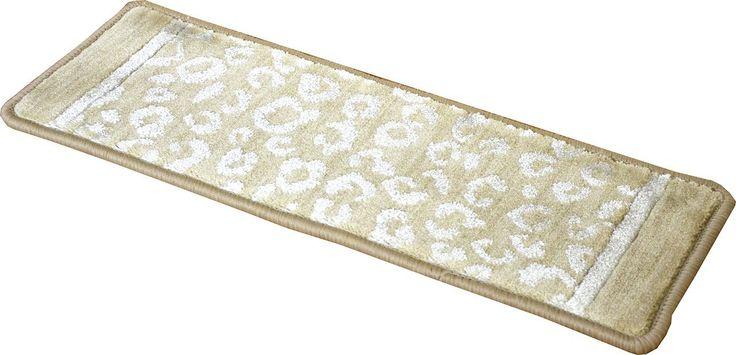 "Dean Kenya Halo Beige Leopard Ultra Premium Stair Gripper Non-Slip Tape Free Pet Friendly DIY Nylon Carpet Stair Treads/Rugs 27"" x 9"" (15) - Dean Stair Treads"