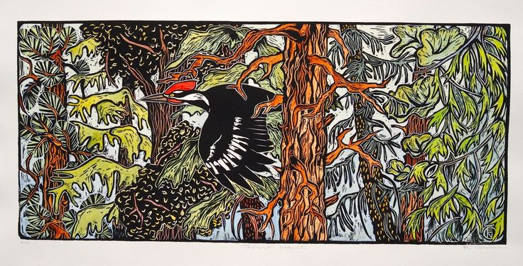 3 Owl Tree - Block Prints III - 3 owl tree