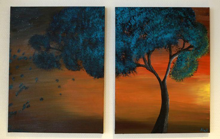 Autumn Landscape Acrylic Painting on Canvas / Tree Painting on Canvas / Acrylic Painting / Autumn Tree Painting/ Blue tree Painting by AllexaArt on Etsy https://www.etsy.com/listing/252803955/autumn-landscape-acrylic-painting-on