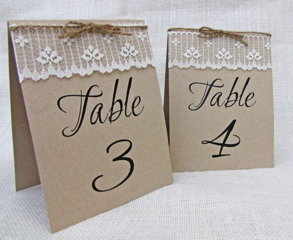 Kraft Lace Rustic Shabby Chic Table Numbers by LoveofCreating