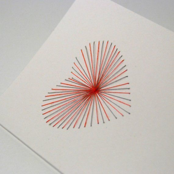 Handembroidered Greeting card Red and Grey Heart by papermodeHome, € 4.00