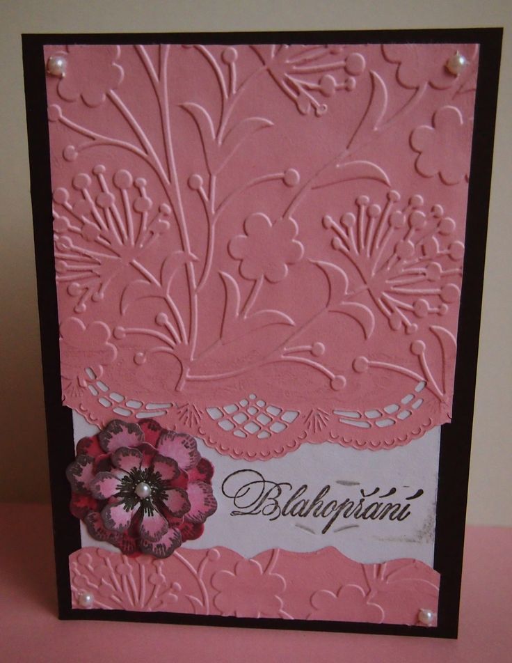 #birthday #card #pink #black #white #flowers #stamp #emboss #bigshot #cardmaking #papercard