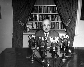 Harry S Truman was the first president to give a speech on television.