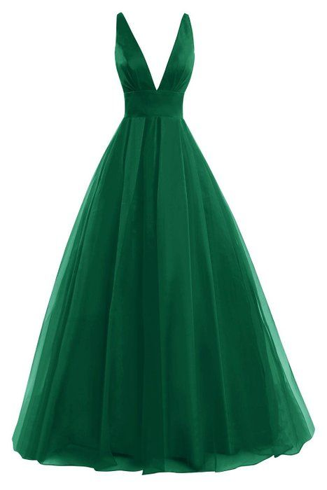 Bess Bridal Women´s Tulle Deep V Neck Prom Dress Formal Evening Gowns Dark Green