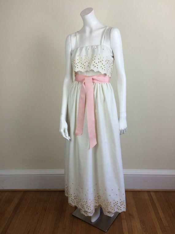 Harold Levine ivory white formal maxi dress w/ eyelet by hkvintage