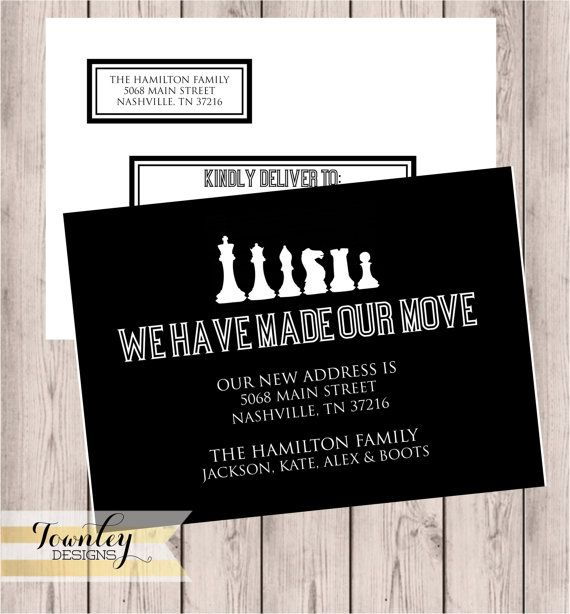Moving Postcard Chess Pieces Custom Moving by TownleyDesigns