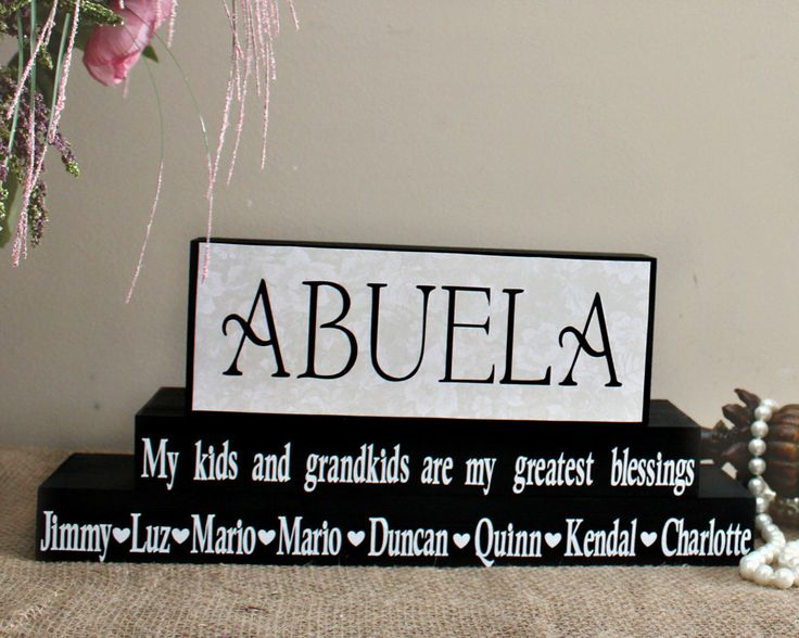 Abuela Gift - Personalized Abuela Blocks - Spanish Grandmother Gift - Mothers Day Present - Abuela Birthday Gift - Home Decor Blocks by TimelessNotion on Etsy