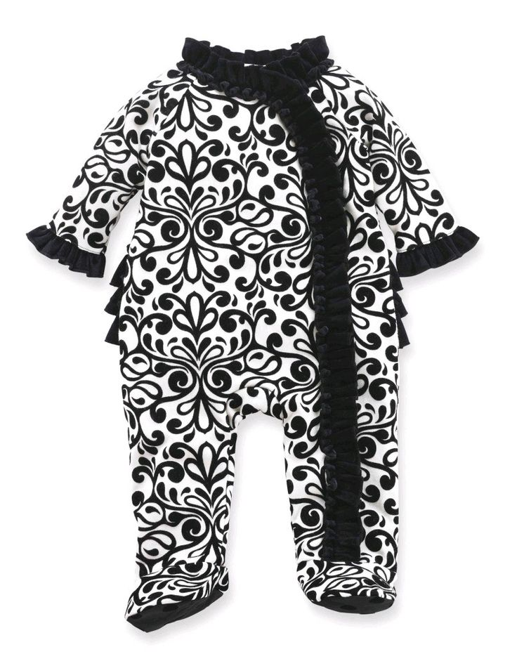 Mud Pie Baby Diva Collection Black White Ruffled Damask Sleeper Outfit Girl New