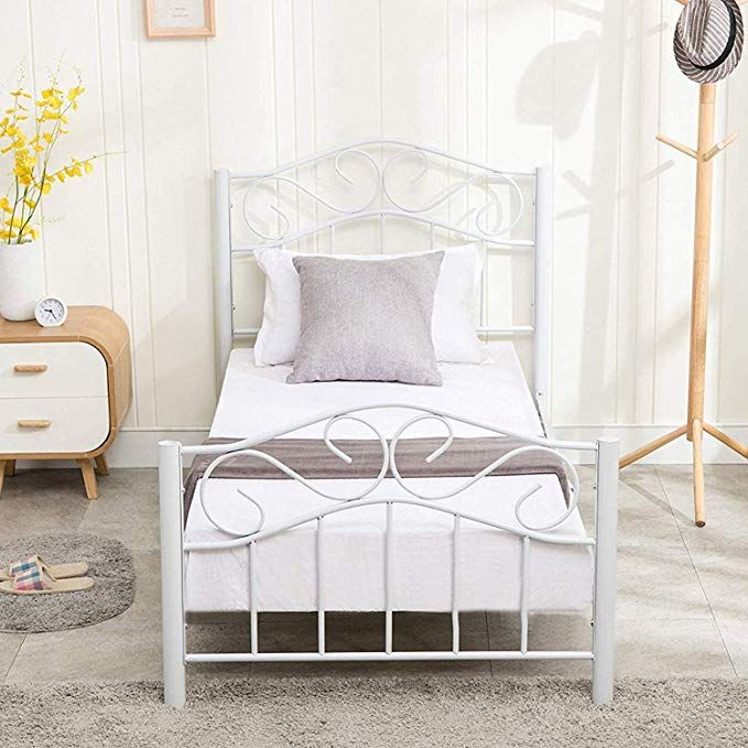 Mecor Twin Size Curved Metal Bed Frame Mattress Foundation