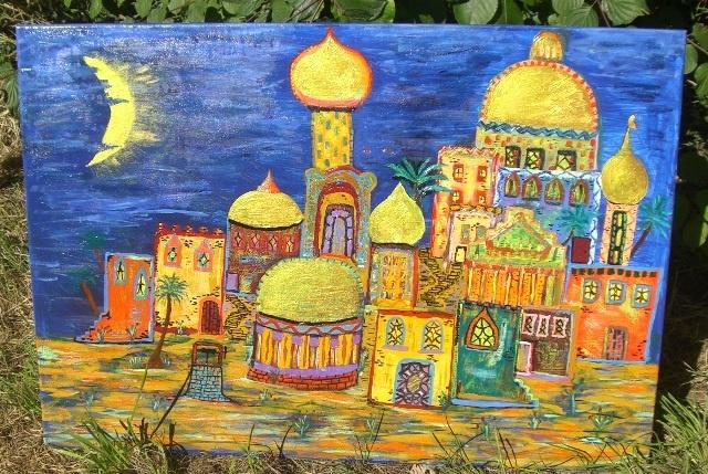 Orientalische Stadt, Nachtblau
