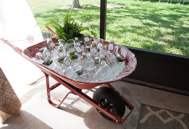 Water in a wheelbarrow