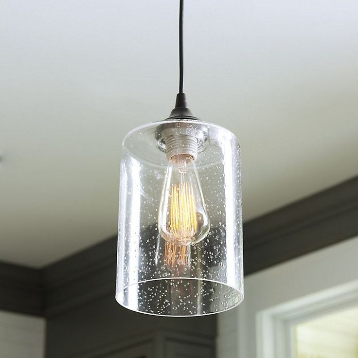 Superior Can Light Adapter   Seeded Glass Pendant