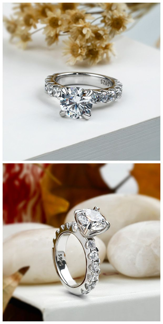 7b48edc79ba1d Italo Classic Round Created White Sapphire Engagement Ring in 2019 ...