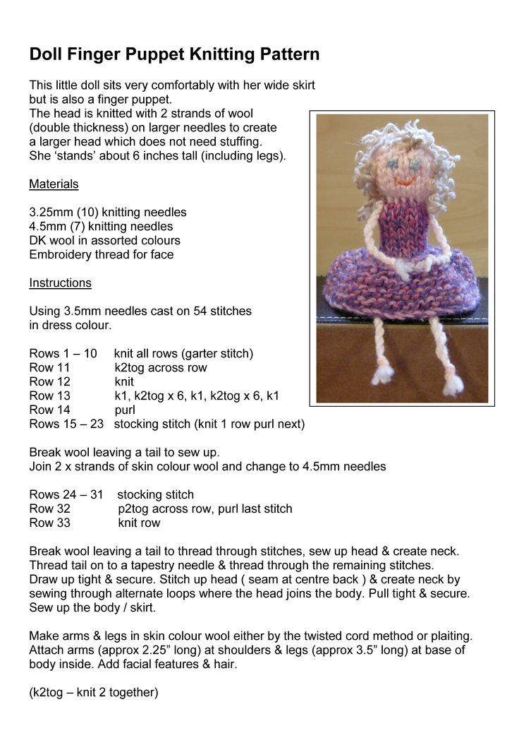 Doll Finger Puppet Knitting Pattern
