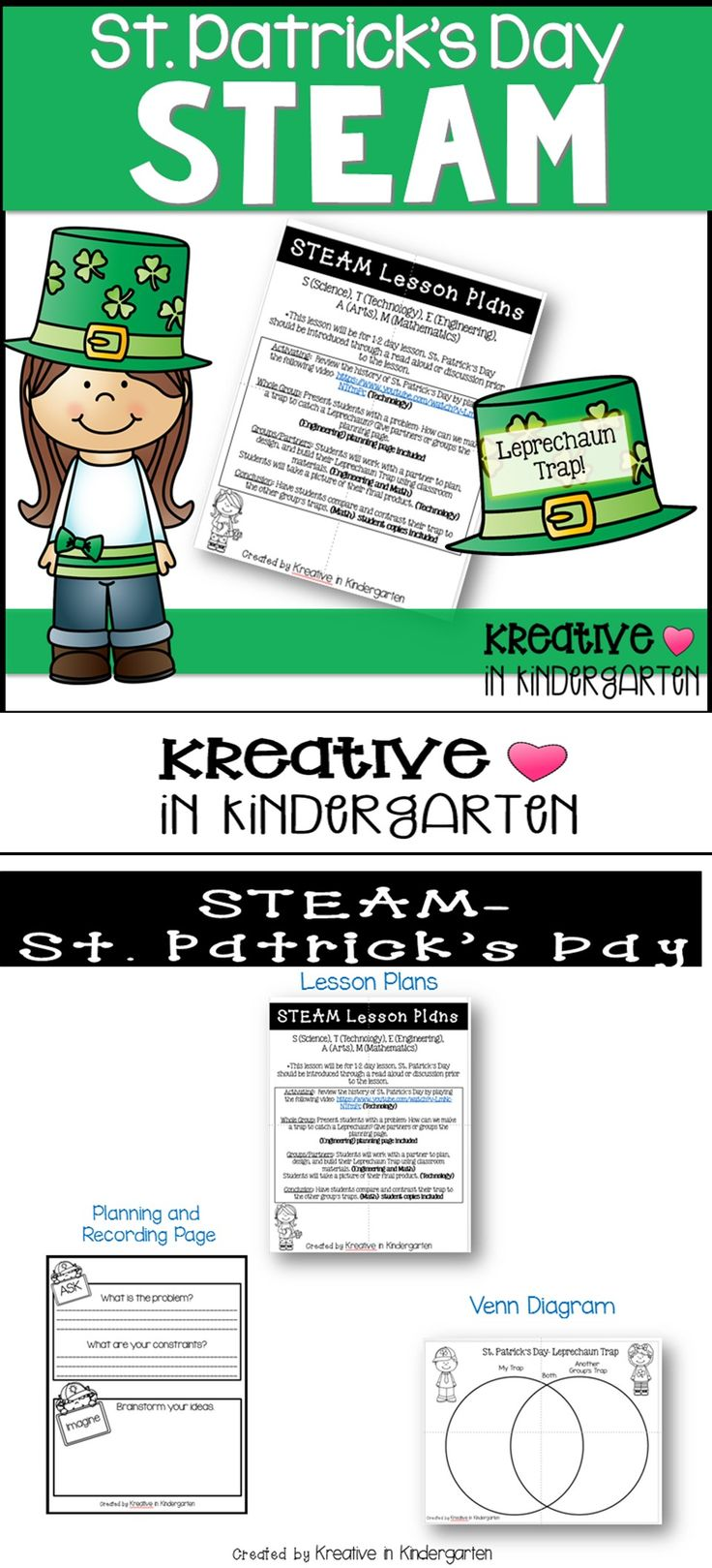 St. Patrick's Day Leprechaun Trap- STEAM   Are you trying to incorporate STEAM (STEM) into your classroom that is perfect for little learners? Do you need a quick, easy, minimal prep way to do it?   ★ Teacher directions with lesson plans!  ★ Printable recording sheet for planning and recording the challenge ★ Venn Diagram ★ Materials List ★ Reflection Questions ★ Incorporates- Engineering, Arts, Technology and Math