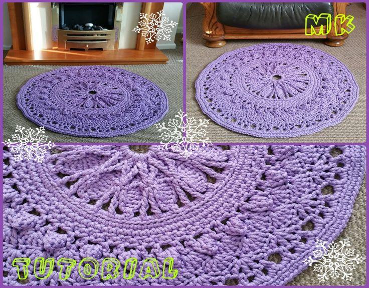 Ковер крючком из шнура для начинающих 6-8 ряды Crochet rug for beginners...