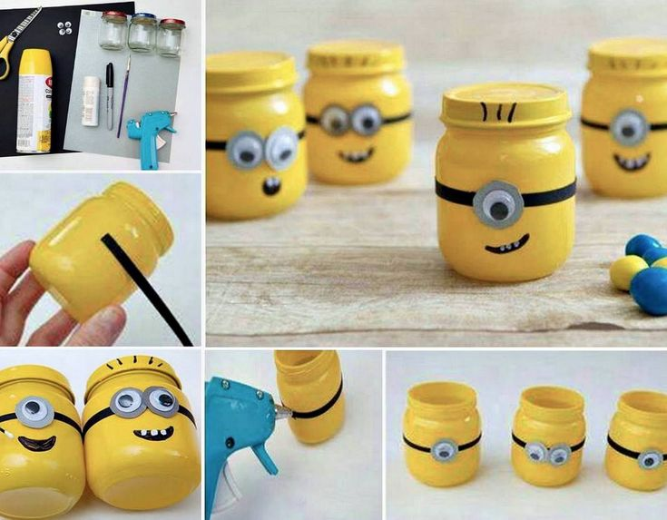 DIY  minion character mason jars