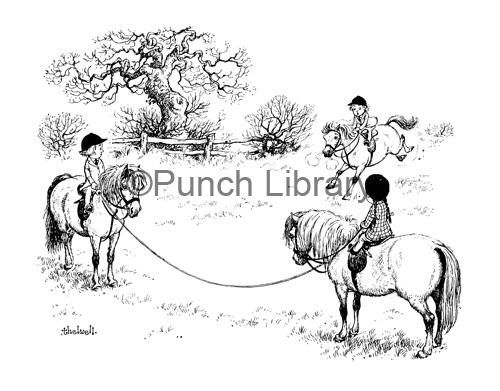 LOVE!!! Children riding ponies; artist: Norman Thelwell. Published in Punch Magazine 19 January 1955.