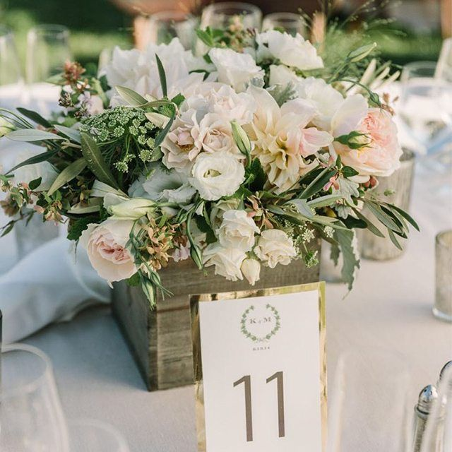 wooden box rustic wedding centrepiece - country garden wedding - ivory and blush pink wedding flowers