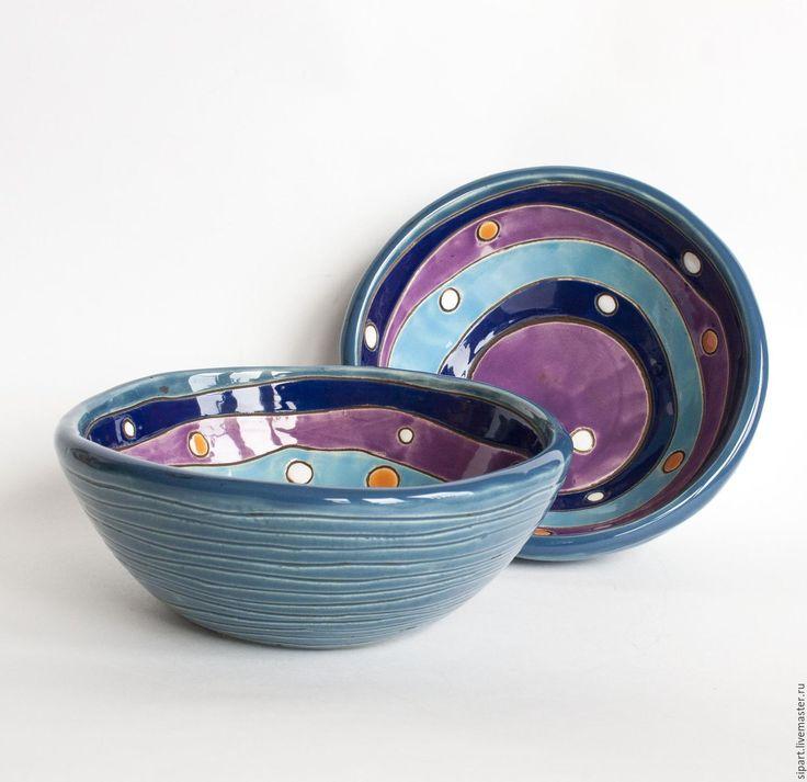 """Купить Комплект салатников """"Синяя птица"""" - синий, голубой цвет, фиолетовый, салатник, керамическая посуда"""