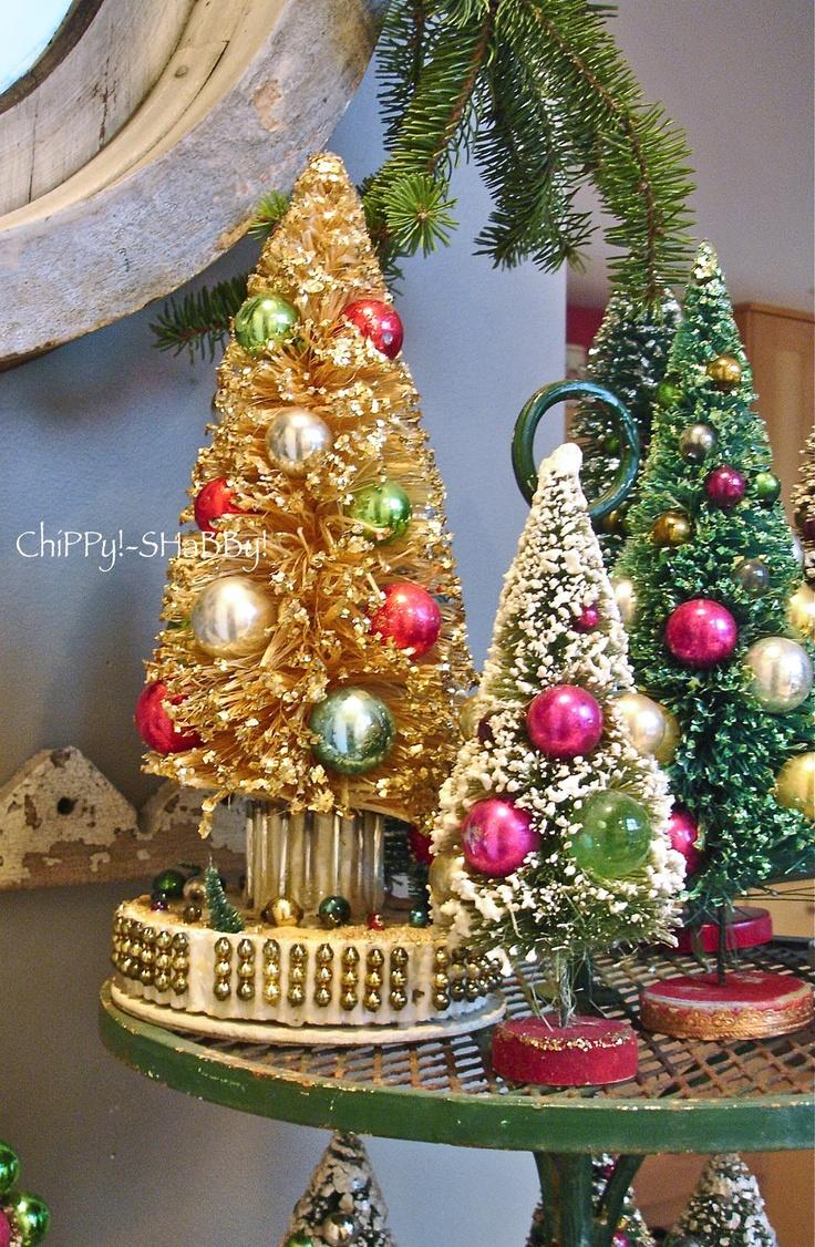 Vintage christmas tree ornaments - Vintage Bottlebrush Christmas Trees With Glass Ornaments