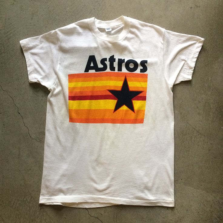 """Houston Astros T-Shirt $40+$8(shipping) domestic. Size M/L. 29"""" collar to hem x 20"""" pit to pit. Contact the shop at 415-796-2398 to purchase by phone or PayPal afterlifeboutique@gmail and reference item in post."""