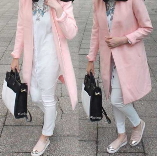 pink-jacket-hijab-look- Cute and girly hijab clothing