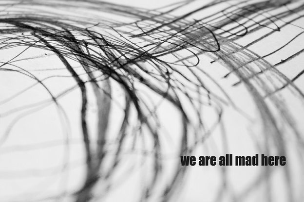 we are all mad here.but my plan is to create posters like this one. #weareallmadhere #alice #quote #mad #world #drawing #blackandwhite #black #background #decor #home #decoration #photo #macro #abstract #quote #inspiration