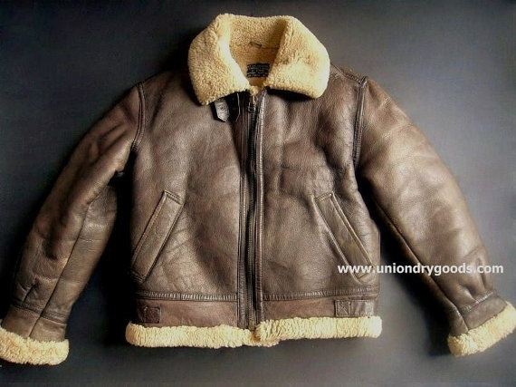 Vintage B3 Bomber Jacket Leather Shearling by uniondrygoods, $212.00