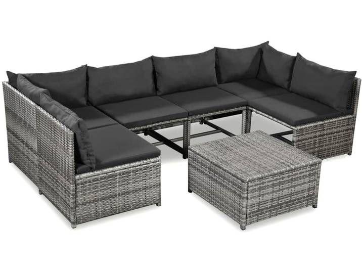 Vidaxl 7 Tlg Garten Lounge Set Mit Auflagen Poly Rattan Grau In