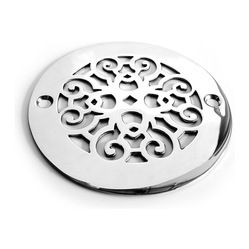 """Designer Drains - Classic Scrolls No.4 Shower Drain - Polished stainless steel drain made to fit Oatey drain roughs. Measures 1/16"""" thick x 4.00"""" OD x 3 3/8"""" center to center of the fastening holes. Includes stainless steel fasteners. Made in U.S.A."""