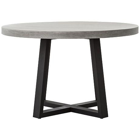 Cyrus Gray Lava Stone and Iron Round Dining Table