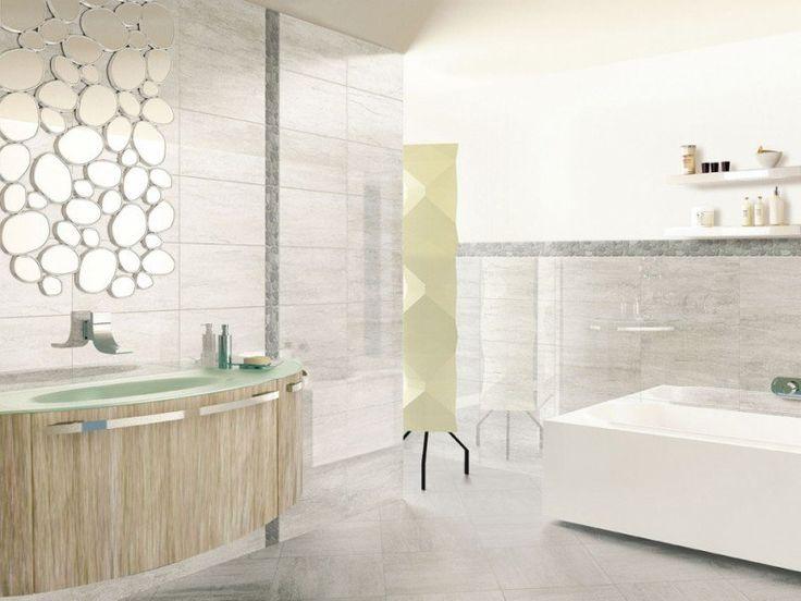 carrelage-salle-bains-aspect-pierre-frise-galets-miroir-original carrelage pour salle de bains