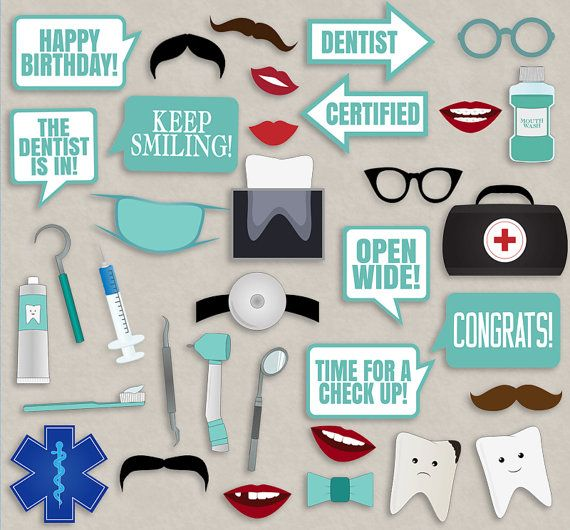 35 Dentist Themed Party Photo Booth Props by YouGrewPrintables