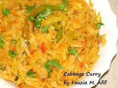 Cabbage Curry... looks yummy! Cabbage is considered a negative calorie food, it's high in antioxidants, vitamin C, vitamin K, and folic acid!