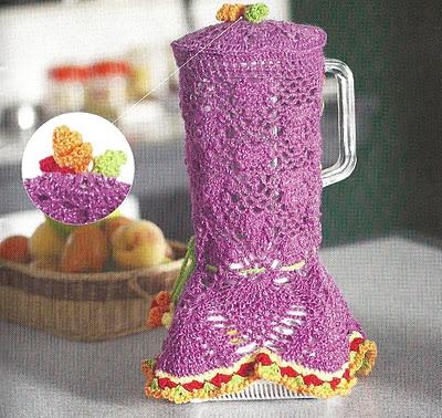 Hermosa funda para cubrir la licuadora en crochet.