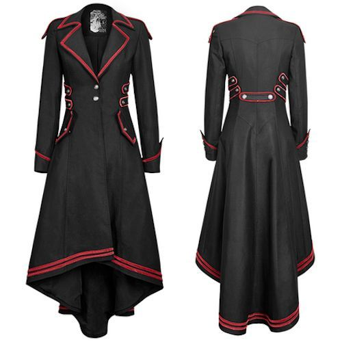 Women Black and Red Gothic Military Style Dress Trench Coat Overcoat SKU-11401653