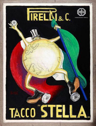 "Mario Giangaspare Bazzi, advertisement for Pirelli ""Stella"" heels,  1919-1920 http://www.fondazionepirelli.org"