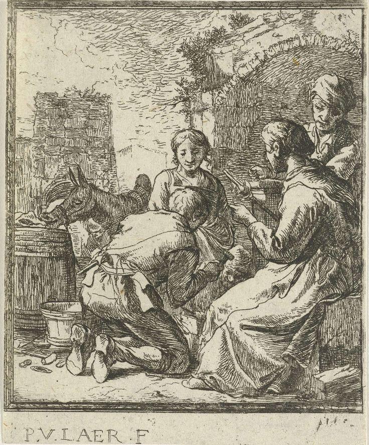 Pieter Bodding van Laer | Vier figuren bij een vervallen gebouw, Pieter Bodding van Laer, 1609 - 1642 | Een smid en een vrouw met spinrok buiten bij een vervallen gebouw, twee figuren kijken toe. Links drinkt een ezel uit een ton.