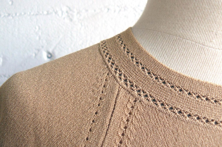 vintage 1950s mustard pointelle knit sweater top
