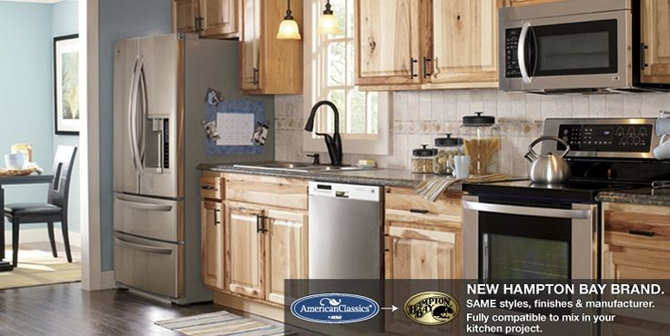 Hampton natural hickory kitchen cabinets raised panel for Classic kitchen cabinets inc